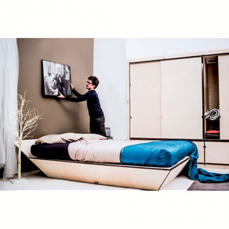 Lozen, letto ecologico in legno di betulla, design italiano, in kit di montaggio