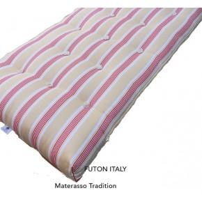 Materasso naturale tradizionale in cotone e lattice con fodera in cotone a righe